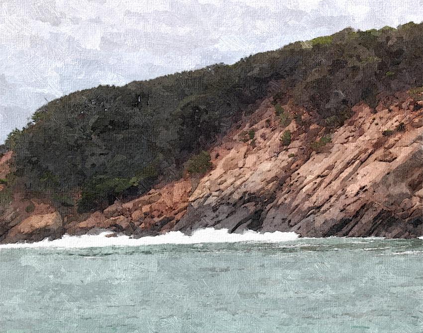 白波たつ海